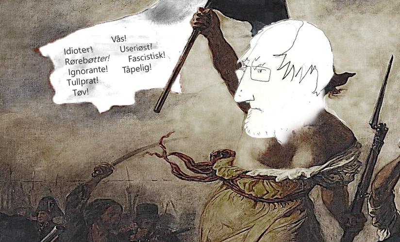 Lars Gule er en engasjert debattant. Gules metode er - berømt. Tegning: Kristin B. Bruun
