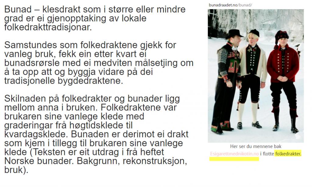 Norges Bunadsråd promoterer salg av e-sigaretter med nikotin