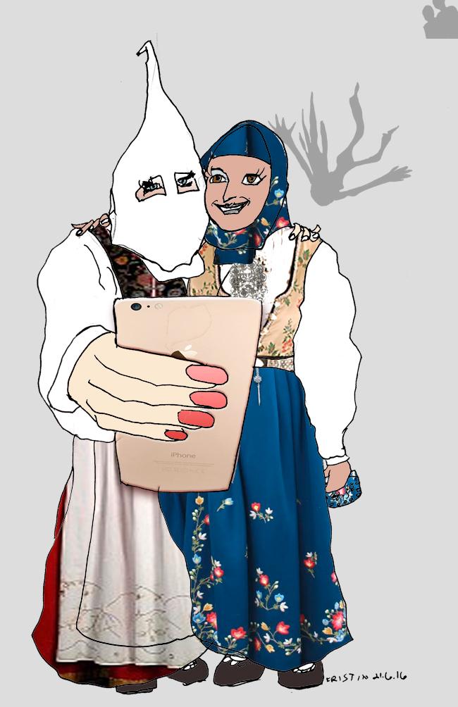 Hijab, bunad og balkongpiker. Tegning: Kristin Biesse Bruun