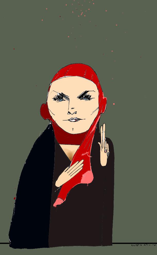 Martine Aurdal - feminist og hijabforkjemper Tegning: Kristin B. Bruun