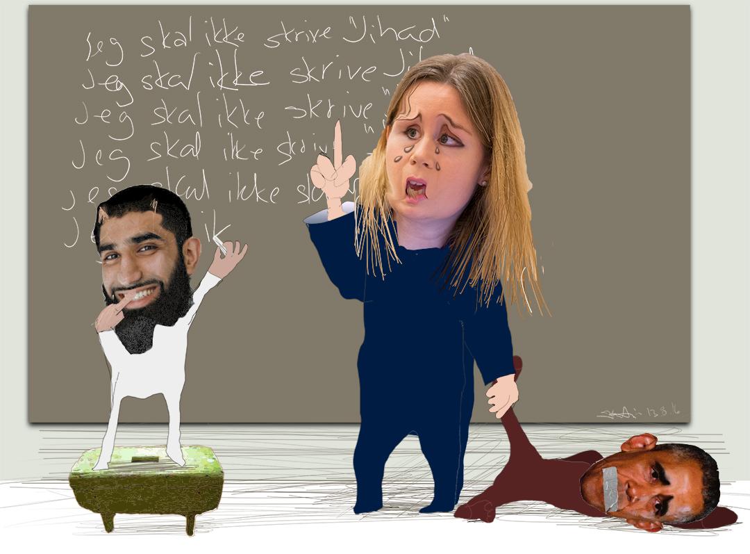 Linda Noor har belært Obama om å ikke nevne og sammenkoble, selv er hun gjenstand for jihad. Illustrasjon: Kristin Bruun