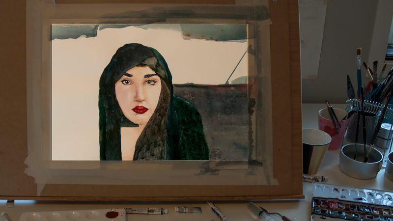Årets første dag i studio - 25 år gamle farger er funnet igjen! Ill. Kristin Bruun