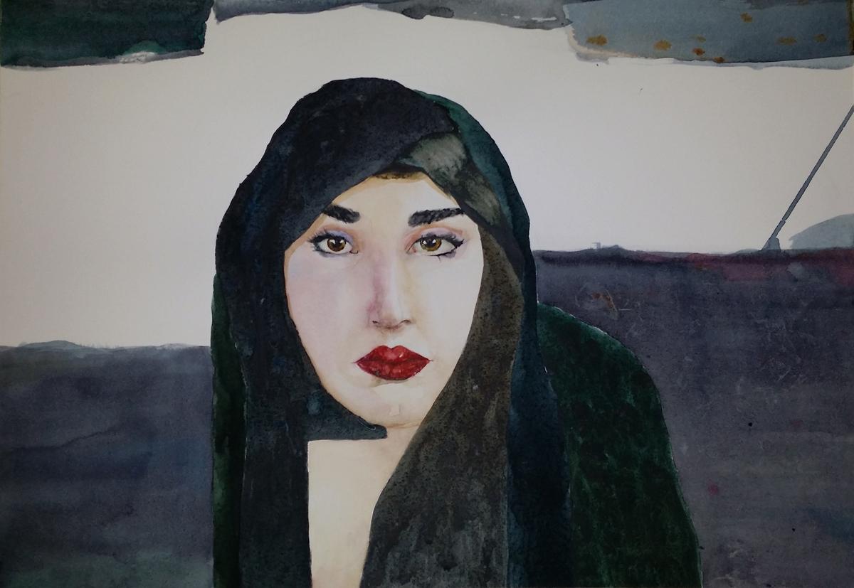 Kvinne i hijab - mer utviklet. Ill. Kristin Bruun