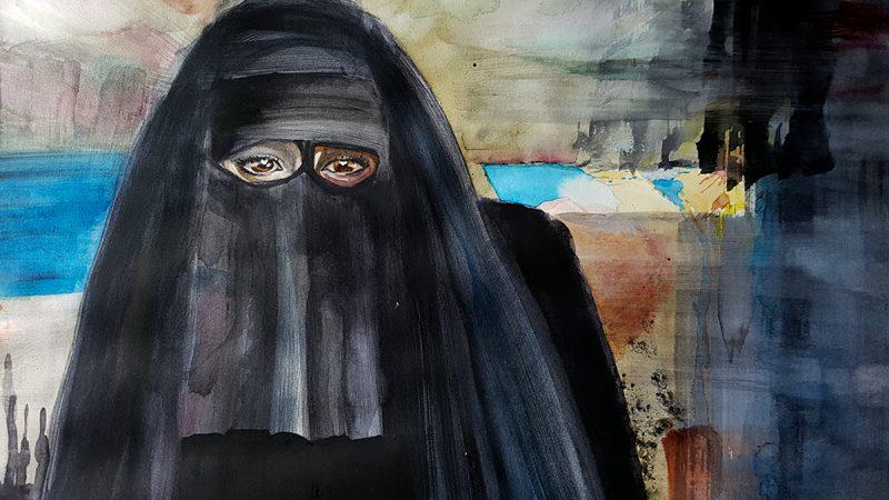 Nikab. Akvarell: Kristin Bruun