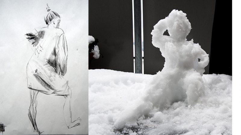 Tegning og snøskulptur: Kristin B. Bruun