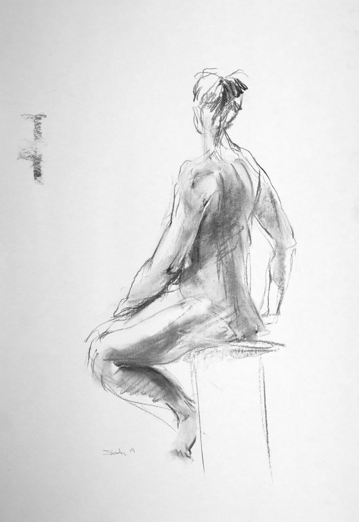Sittende modell, croquis. Il. K.B. Bruun